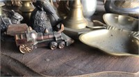 Brass decorations and fireplace tool set