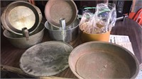 Cake and pie pans, strainer and silver plate tray