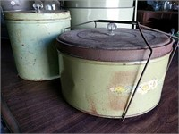 Metal covered cake carriers and biscuit tin