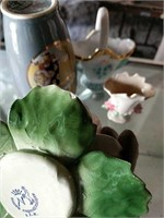 Capodimonte candle holders, basket and other