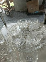 Glass platter, teacups creamer sugar, footed bowl