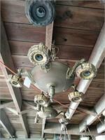 3 antique-brass light fixtures