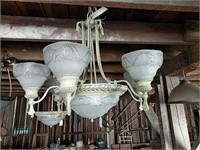White metal multi bulb chandeliers