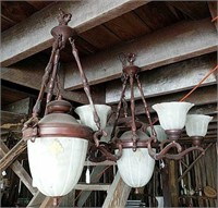 2 Bronze look chandeliers, 1 antique-brass fixture