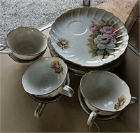 Rose pattern China snack set of 6