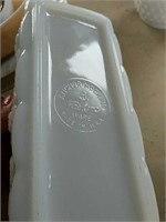 Fire King milk Glass platter, divided dish,
