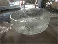 Clear glass juicers, bowls and platters