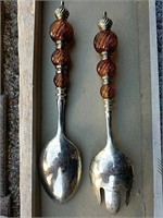 Ornate serving fork and spoon, carving set