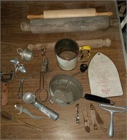 Primative rolling pins and kitchen utensils