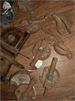 Window pulleys, latches and locks