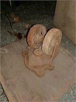 Metal caster wheels on wood platforms