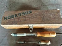 Robertson soldering iron in wood box
