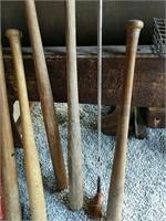 Old wooden baseball bats