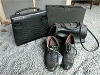 Black purses and shoes