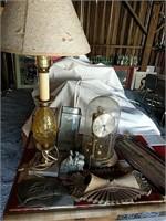 Metal and glass lamp, anniversary clock