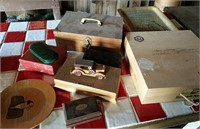 Small wooden boxes and tray