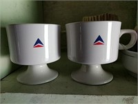 1st class Delta Airline cups, ashtrays, small bowl