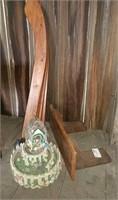 Wood legs, fountain, shelf