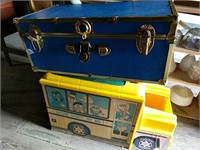 Blue trunk and Sesame Street toy box