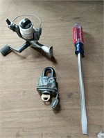 Lock with key, Craftsman screwdriver and fishing