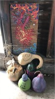 Artwork and painted gourds