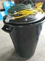 Unused trash can/ industrial power cords