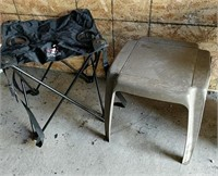 Folding bag stool and plastic tables