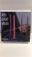 Brass Advent Wreath & Black Cherry Candle With