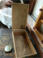 Wooden clock and shoeshine box