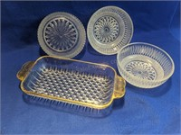 3 Vintage Cut Glass Pinch Bowls & Butter Tray