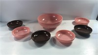 Glazed Milk Glass Large Bowl & 6 Small Bowls