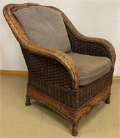 QUALITY RATTAN ARM CHAIR WITH CUSHIONS