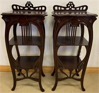 SOLID MAHOGANY PAIR OF ACCENT SHELFS - END TABLES
