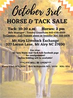 Mt Airy Livestock Exchange - October 3rd Horse & Tack Sale