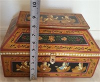 814  HAND PAINTED & LINED WOOD JEWELRY BOX