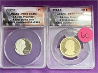 LOT OF 2 FIRST STRIKE PROOF SET COINS  (60)