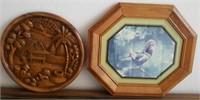 814 - WALL ART: BIRD IN WOOD FRAME; VILLIAGE