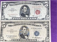RED & SILVER CERTIFICATE $5 DOLLAR BANK NOTES (1)