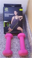814 - RESISTANCE BANDS; PINK WEIGHTS