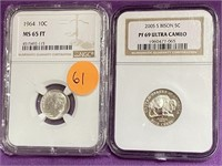 LOT OF 2 GRADED COINS - SEE PICS (61)