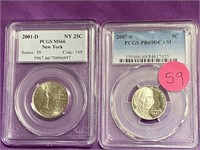 LOT OF 2 GRADED COINS - SEE PICS (59)