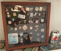 814 - 1980 OLYMPICS PIN COLLECTION IN SHADOWBOX