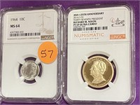 2 GRADED COINS - SEE PICS (57)