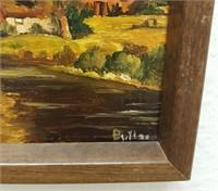 814 - ART: FRAMED ENGLISH COTTAGE; WAVES ON ROCKS