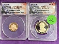 A LOT OF 2 GRADED COINS - SEE PICS (62)