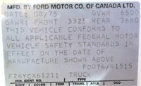 1975 Ford PK Custom (view 4 - VIN Plate)