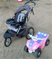 Jogging 3-Wheel Stroller, Toddlers Plastic Push 4-Wheeler