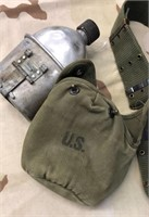 Military Issued WWII Utility Belt & Canteen set