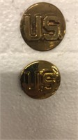 Real Gold WWII US Collar Pins