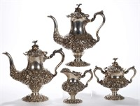 Steiff repousse sterling four-piece tea / coffee service